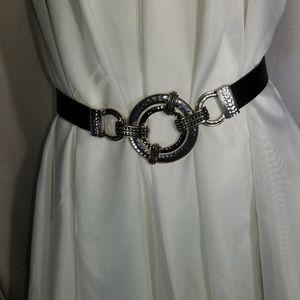 Chico's S/M friction black leather belt